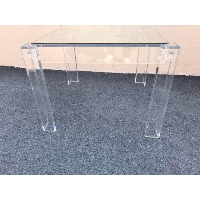 Modern 1970s Modern Clear Lucite Table For Sale - Image 3 of 7