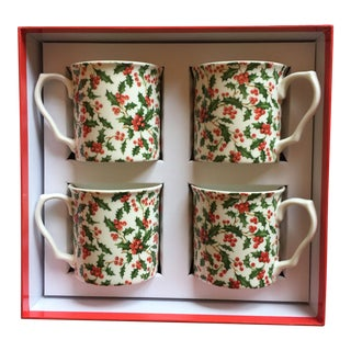 Shannonbridge Pottery Holly Mugs - Set of 4 For Sale