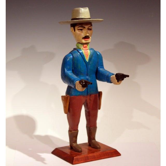 1980s Old Folk Art Figurine of Gunslinger Western Cowboy Gambler For Sale - Image 5 of 11