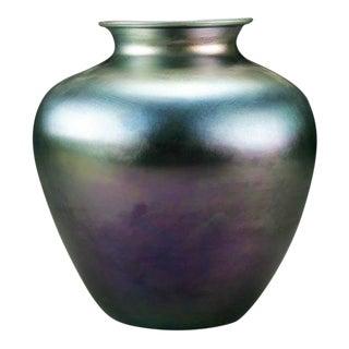 20th Century Art Deco Blue Iridescent Steuben Glass Aurene Vase