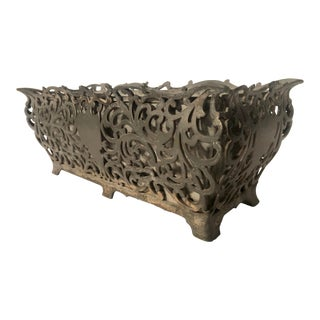 Early 20th Century Garden Chic Metal Rectangular Table Top Planter For Sale