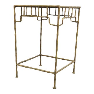 Faux Bamboo Metal Side Table