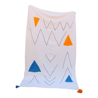 Handmade Orange & Blue Accent Contemporary Blanket For Sale