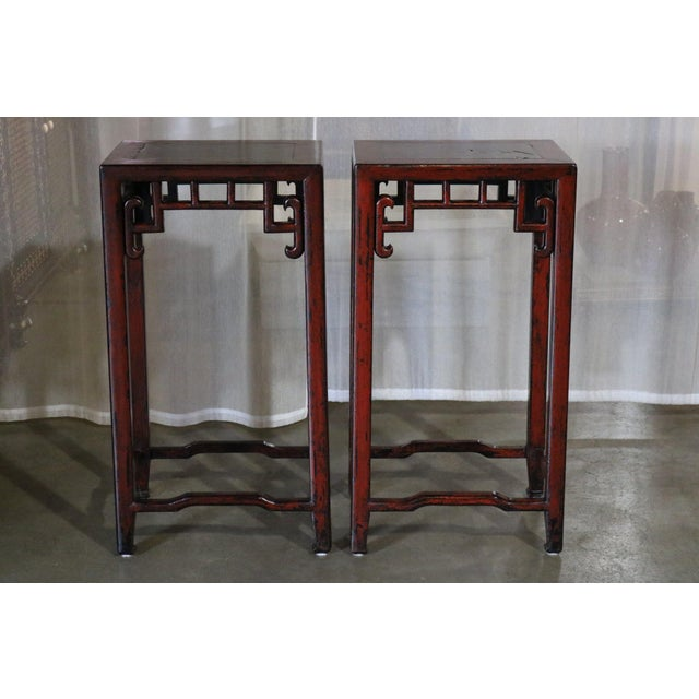 Chinese Red Lacquer Flower Stand W/ Stone Top - a Pair For Sale In Los Angeles - Image 6 of 6
