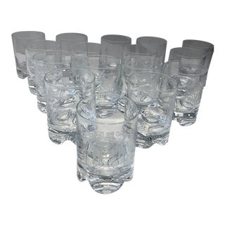 Late 20th Century Crested Old Fashioned Glasses 'Ne Obliviscaris' 'Forget Not' - Set of 16 For Sale