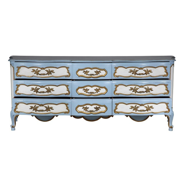 Karges French-Style Blue & White Dresser - Image 6 of 7