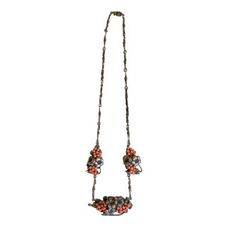 1930s Sterling and Coral Necklace For Sale