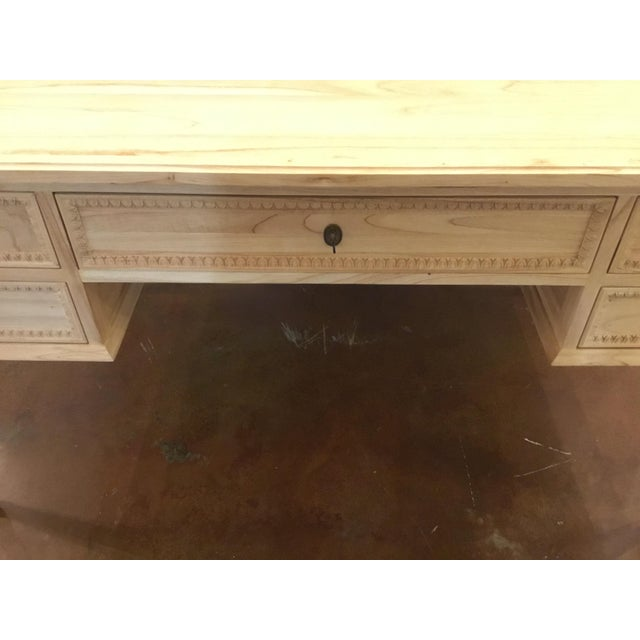 Ave Home Transitional Natural Wood Colette Writing Desk For Sale - Image 4 of 7