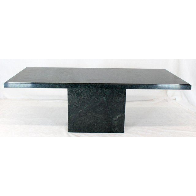 Rectangular Single Marble Pedestal and Top Dining Conference Table Deep Green For Sale - Image 13 of 13