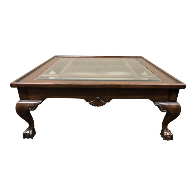 Square Wood Glass Insert Coffee Table Chairish