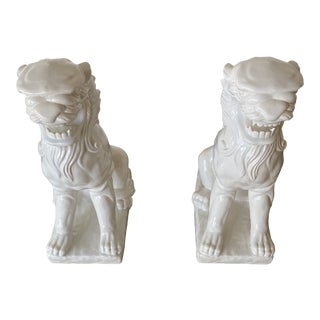 21st Century White Lion Statues - a Pair For Sale