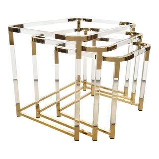 1970s Lucite and Brass Nesting Tables by Charles Hollis Jones - Set of 3 For Sale
