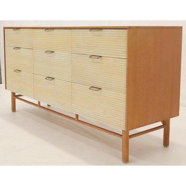 Two Tone Nine Drawer Cerused Oak Long Dresser Credenza by Mengel For Sale - Image 6 of 13