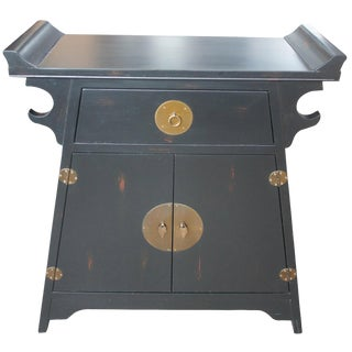 Chinese Asian Ming Style Black Lacquer Altar Cabinet Entry Chest Console Media For Sale