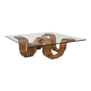 Square Coffee Table, Medium Brown For Sale