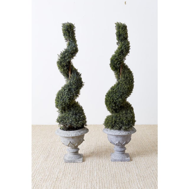 Pair of Faux Spiral Cypress Trees in Urns For Sale - Image 13 of 13