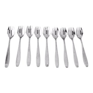 Modern Italian Stainless Fruit Forks - Set of 9 For Sale