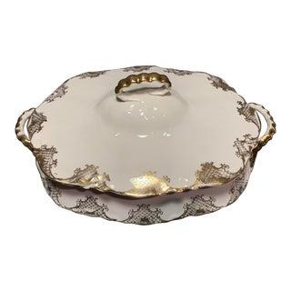 Antique Pope Gosser Porcelain Lidded Dish With Gilt Pattern For Sale