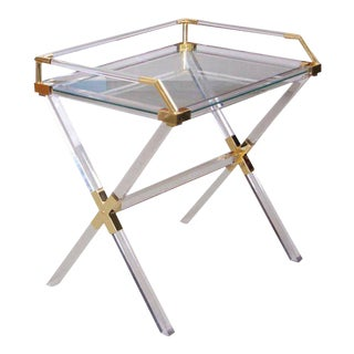 Large Charles Hollis Jones Lucite and Brass Bar Table For Sale