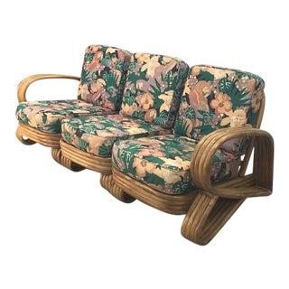 Vintage Rattan 4 Strand Beverly Hills 3 Piece Sofa For Sale