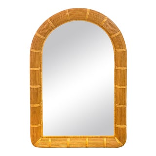 Midcentury Wrapped Pencil Reed Rattan Demilune Mirror For Sale