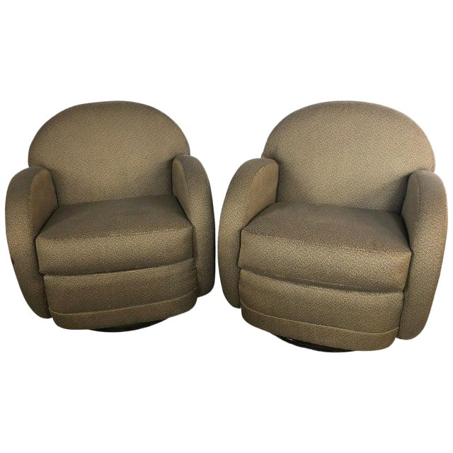 Pace by Directional Leon Rosen Style Mid-Century Modern Swivel Chairs - a Pair For Sale