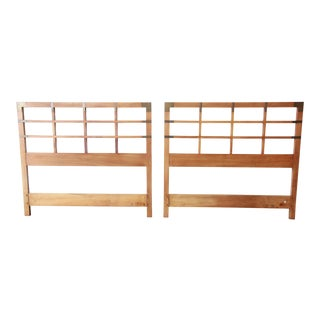 Baker Furniture Milling Road Mid-Century Campaign Twin Size Headboards, Pair For Sale