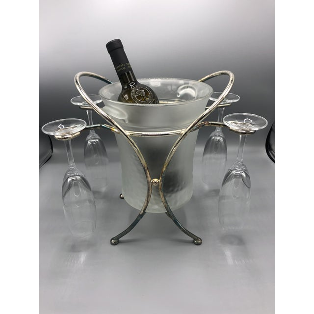 1970s Mid-Century Glass & Chrome Caddy Ice Bucket With Champagne Glasses - 5 Pc. Set For Sale - Image 5 of 9