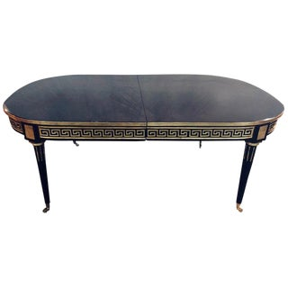 Jansen Style Ebony Three-Leaf Greek Key Design Steinway Dining Table