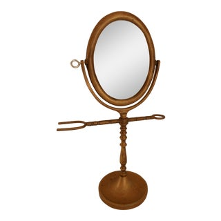 Antique Brass Shaving Mirror For Sale