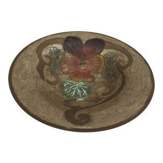A. Delbaux Art Nouveau Brass Enameled Bowl For Sale