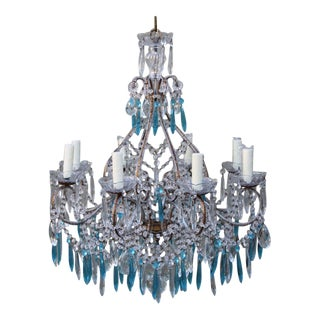 Italian Crystal Beaded Chandelier $3,400 For Sale