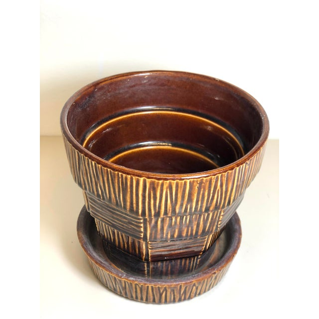 "McCoy Pottery 1940s – 1960s Rare ""Brown"" Mid Century Flower Pot And Attached Saucer Bark Basket Weave Design, Medium,..."