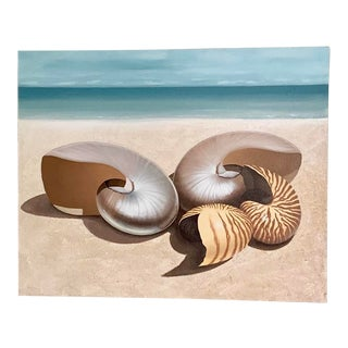 1980s Large Original Shell Nautical Seashore Canvas Painting For Sale