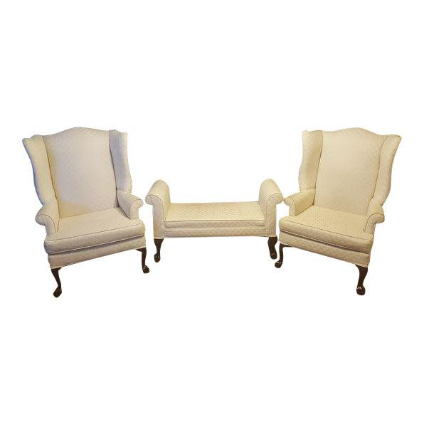 Antique White 1990s Antique Mahogany Ball & Claw Wing Back Arm Chairs - Set of 3 For Sale - Image 8 of 8