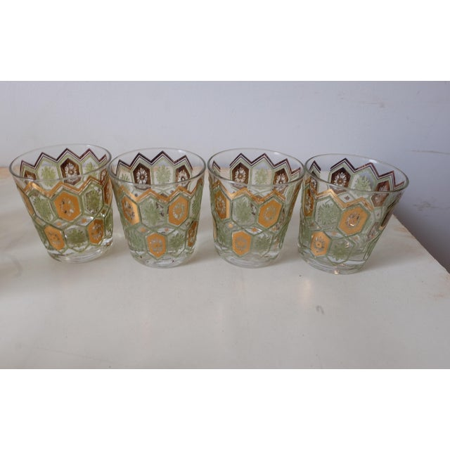 Glass Vintage Gold Green Ice Bucket With Glasses - Set of 13 For Sale - Image 7 of 12