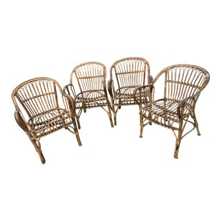Vintage Bamboo Armchairs - Set of 4