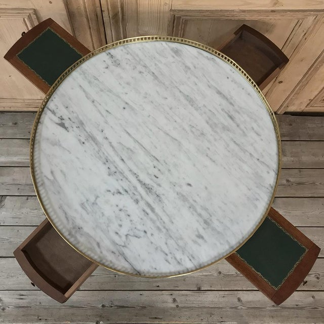 Late 19th Century 19th Century French Directoire Marble Top Round End Table For Sale - Image 5 of 13