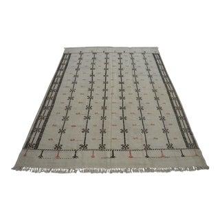 Vintage Natural Jajim Turkish Wool Kilim Rug - 6′ × 9′1″