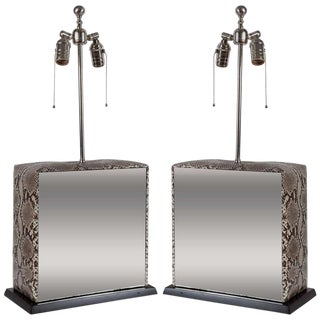 1980s Python and Mirror Lamps - a Pair For Sale