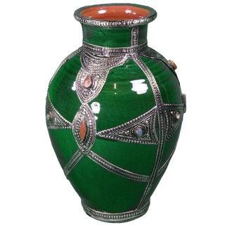 Moroccan Silver Inlaid Ceramic Vase