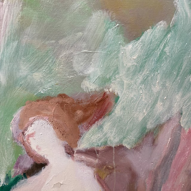 Abstract Irving Aronowitz Vintage Oil on Canvas of Two Women For Sale - Image 3 of 10