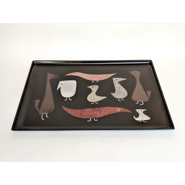 """Mid-Century Modern Couroc of Monterey """"Mod Birds"""" Serving Tray For Sale - Image 3 of 11"""