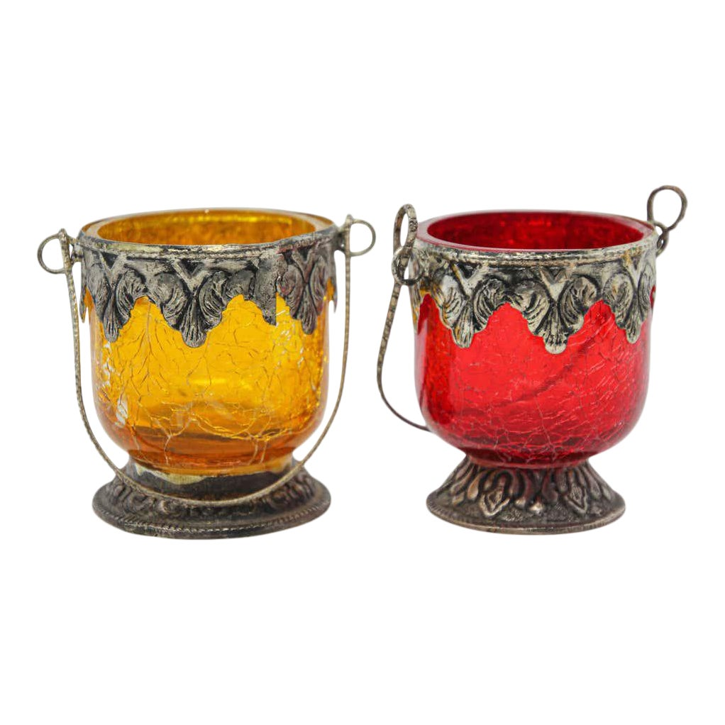 Colored Boho Glass Votive Candleholder Yellow And Red A Pair Chairish