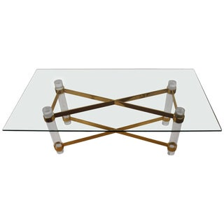 1970s Vintage Lucite Brass and Glass Dining Table For Sale