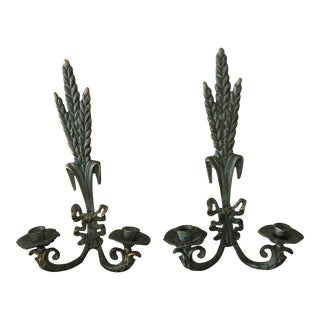 Bronze Verdi Wheat Wall Sconces - a Pair For Sale