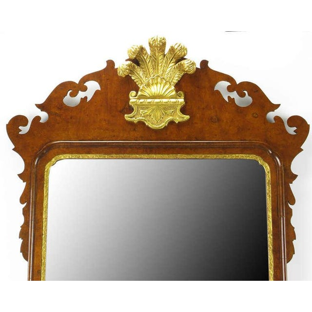 English Traditional Chippendale Mirror in Burled Walnut with Gilt Plume Surmounter by Williamsburg Restorations Inc. For Sale - Image 3 of 8