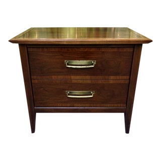 Stanley Mid Century Modern Walnut Vintage Nightstand Side Cabinet Chest For Sale