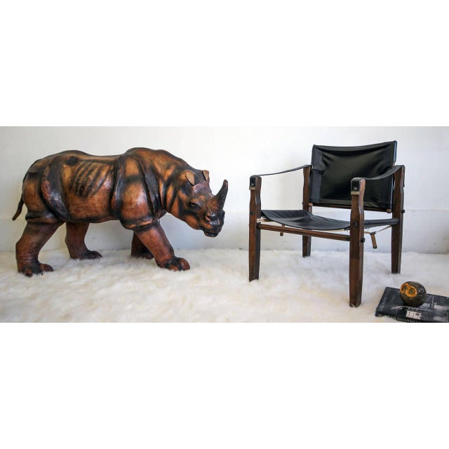 Mid-Century Modern 1970s Monumental Leather Rhinoceros Sculpture For Sale - Image 3 of 8