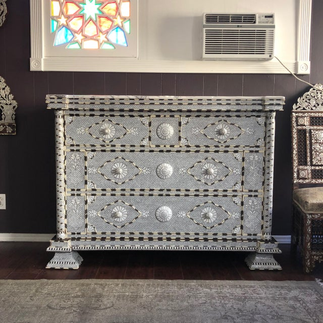 Moorish All White Syrian Mother of Pearl Inlay Dresser For Sale - Image 4 of 10